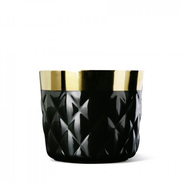 Champagnerbecher, schwarz/gold, Kissenrelief