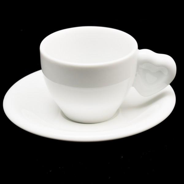 Espressotasse mit Herzhenkel, Unterteller
