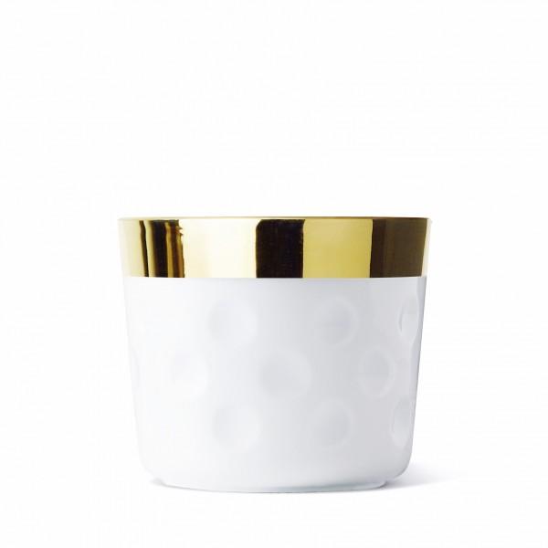 Champagnerbecher, weiss/gold, Punkterelief