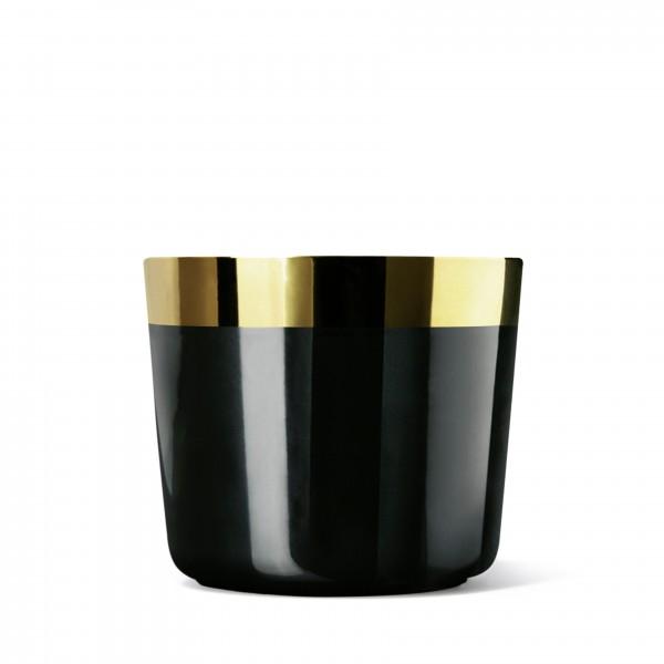 Champagnerbecher, schwarz/gold, glatt