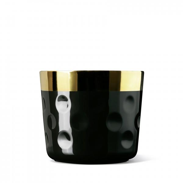 Champagnerbecher, schwarz/gold, Punkterelief