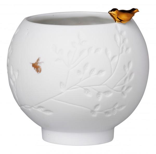 Teelicht mit goldenem Vogel